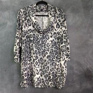ROZ & ALI | Leopard Print Cowl Neck Blouse Size 2X